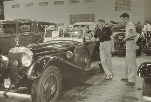 "Jay Lockrow (right) with his father and his 1927 Mercedes-Benz Type ""S"""