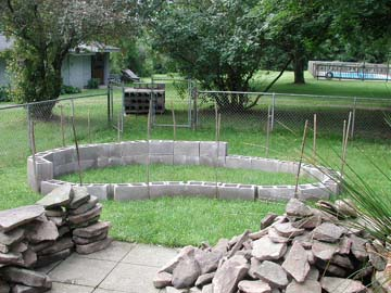 Backyard turtle pond for Cinder block koi pond