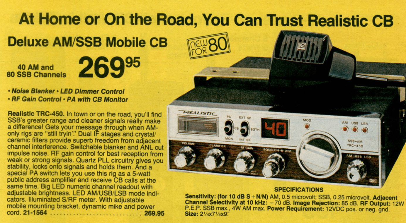 Cb Radios And Scanners Radio Shack Mic Wiring The Trc 450 Was Introduced In 1980 Catalog Page 81