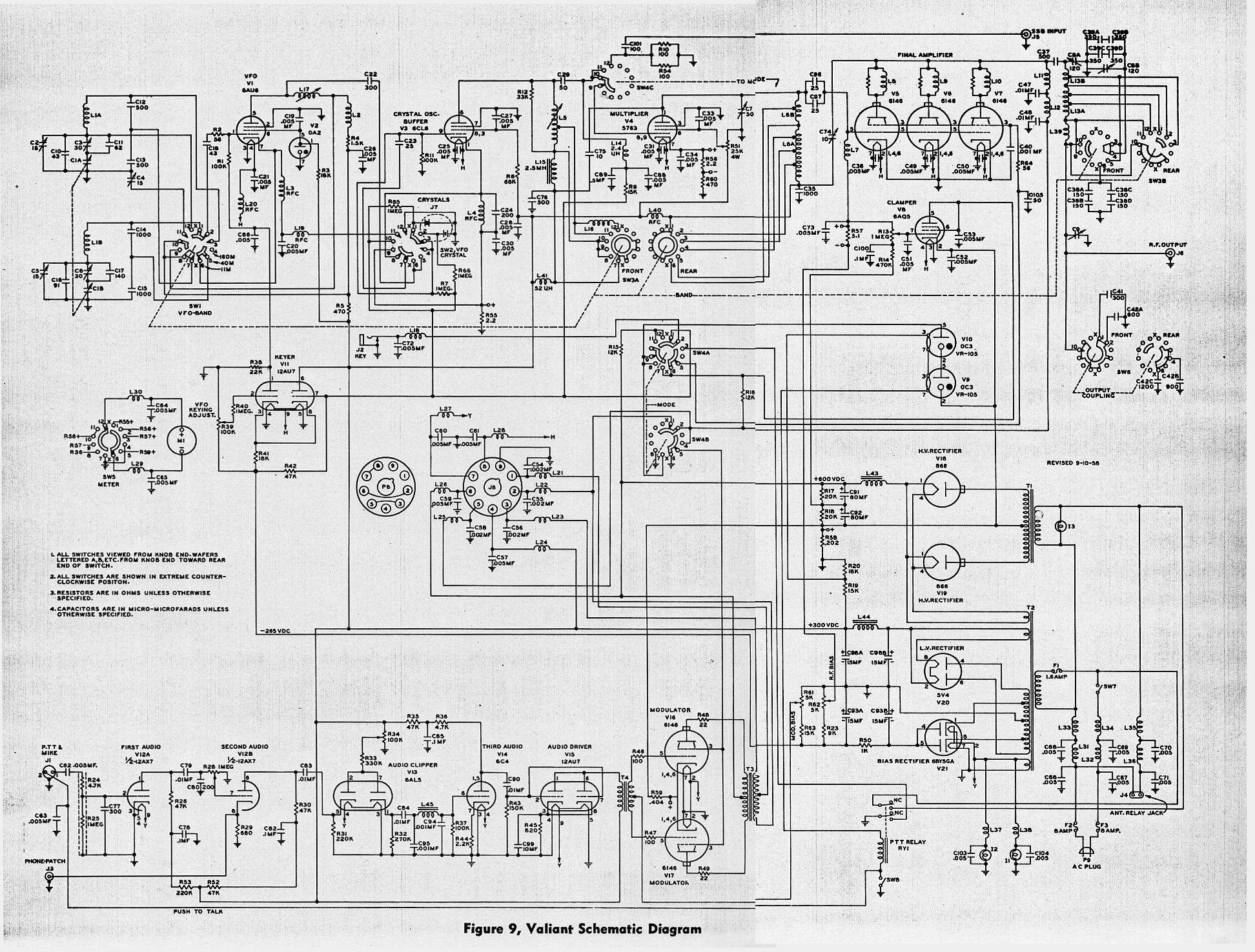 1955 1962 e f johnson viking valiant am cw transmitter viking valiant schematic