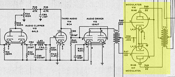 1955 1962 e f johnson viking valiant am cw transmitter the modulation chain is shown along the bottom of the schematic