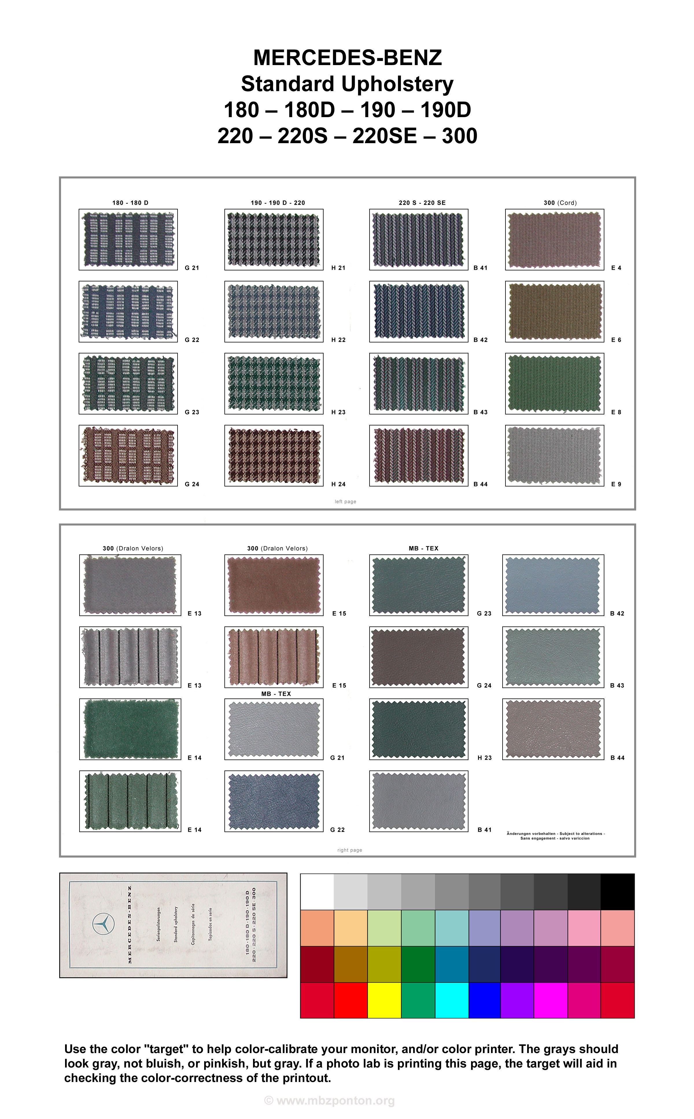 Mercedes Benz Ponton Paint Codes Color Charts 1955 Ford F100 Colors Standard Upholstery Brochure