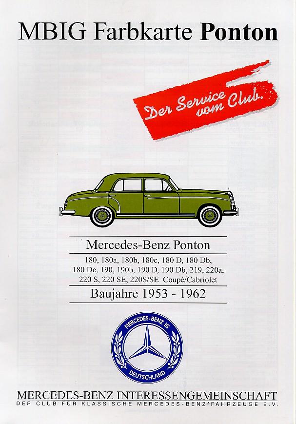 28 mercedes ponton paint codes for Mercedes benz color chart
