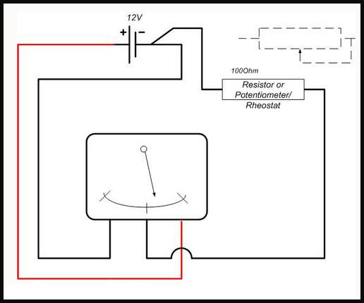 Fuelsender on ohmmeter in circuit diagram